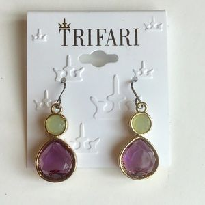 NWT 🌸 Trifari Purple Rhinestone Drop Earrings